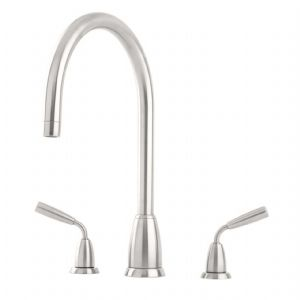 4871 Perrin & Rowe Titan Three Hole Sink Mixer Tap C Spout with Lever Handles